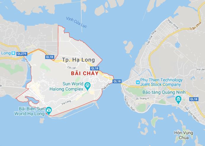 Vị trí của Bãi Cháy trên bản đồ Hạ Long