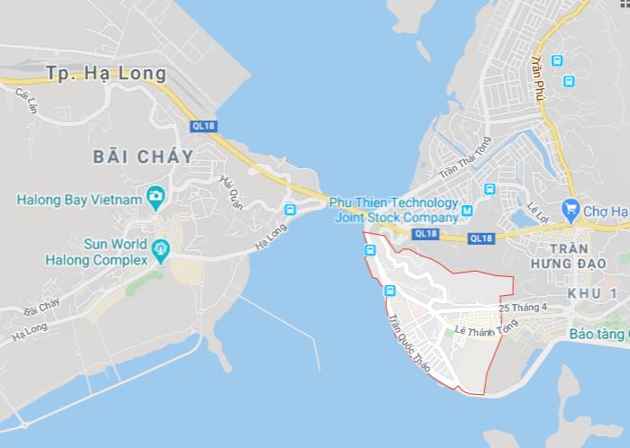 Vị trí của Hòn Gai trên bản đồ Hạ Long